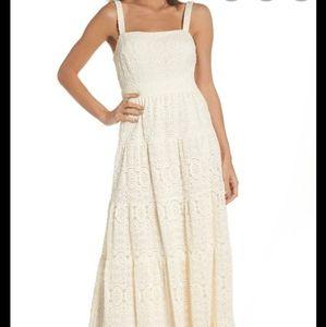 Eliza J Crochet Tiered Boho Maxi Dress Ivory 2